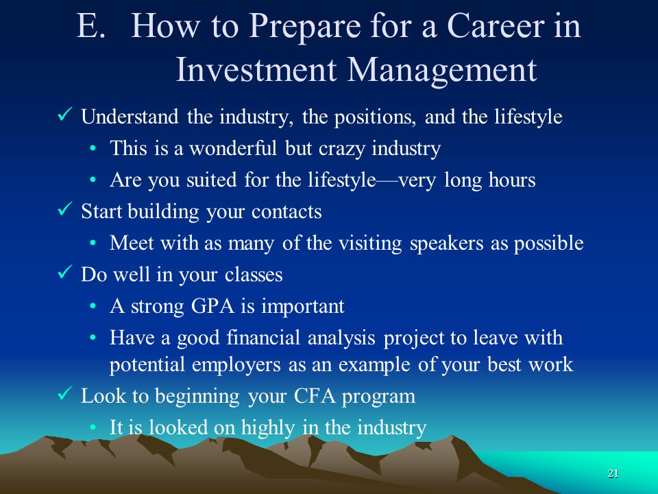 How to Prepare for a Career in Investment Management