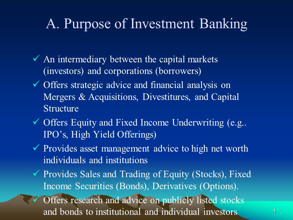 A. Purpose of Investment Banking