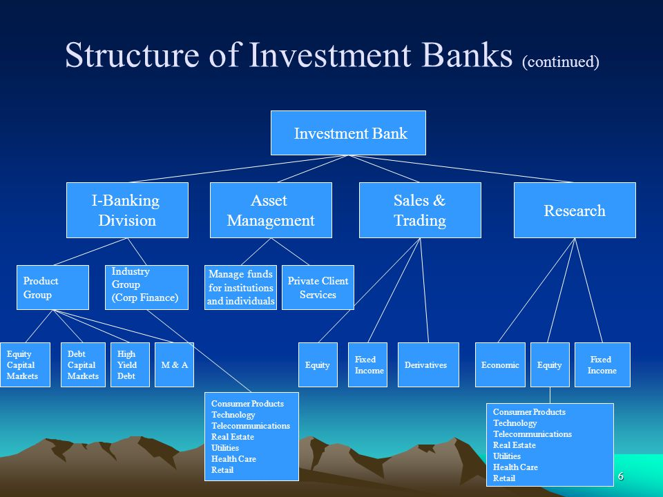 Structure of Investment Banks (continued)