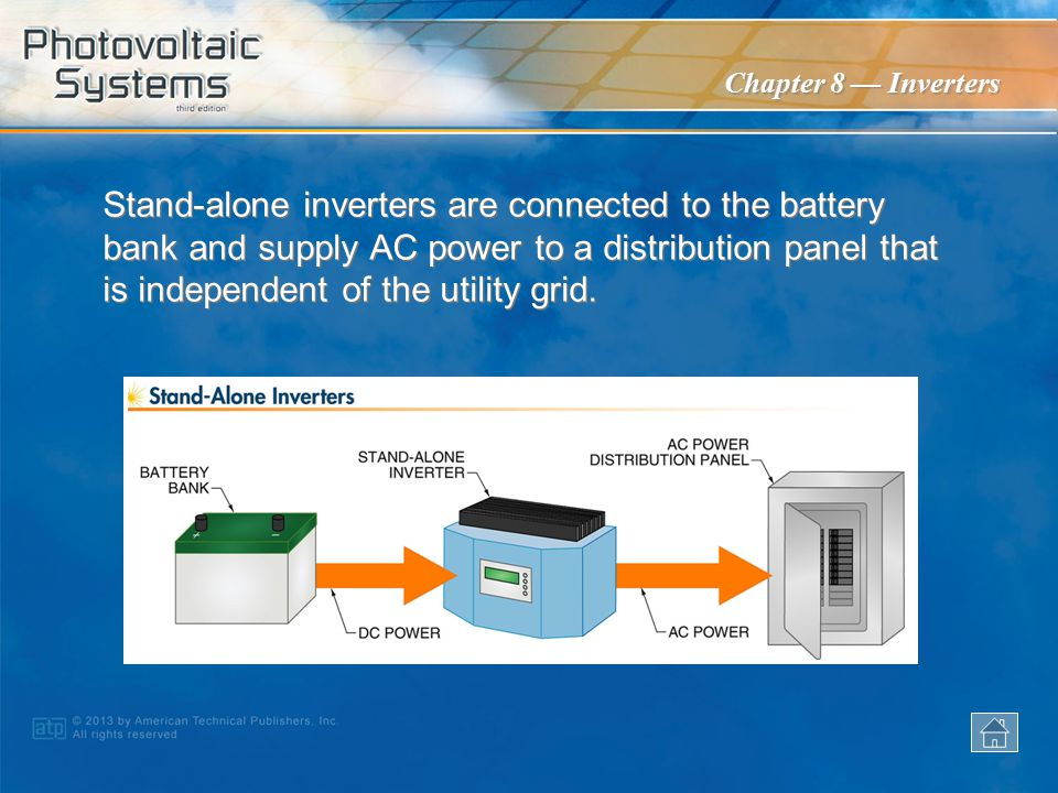 Stand-alone inverters are connected to the battery bank and supply AC power to a distribution panel that is independent of the utility grid.