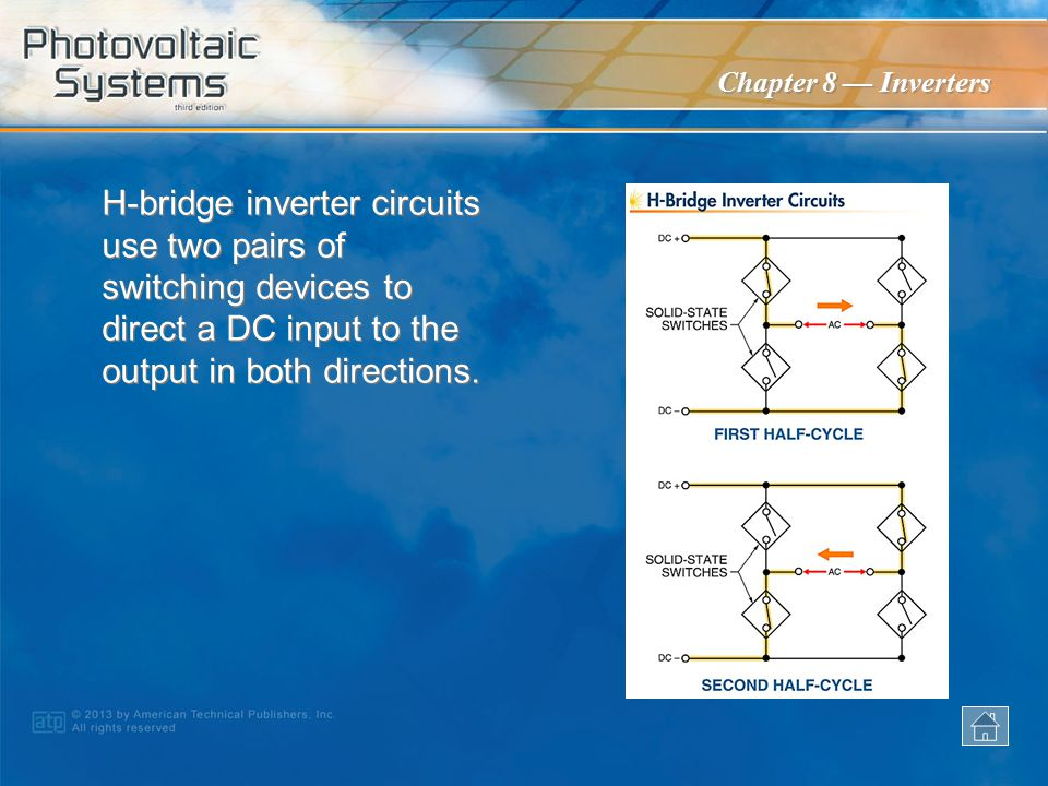 H-bridge inverter circuits use two pairs of switching devices to direct a DC input to the output in both directions.