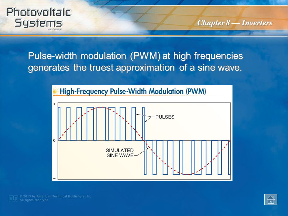 Pulse-width modulation (PWM) at high frequencies generates the truest approximation of a sine wave.