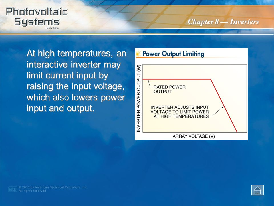 At high temperatures, an interactive inverter may limit current input by raising the input voltage, which also lowers power input and output.