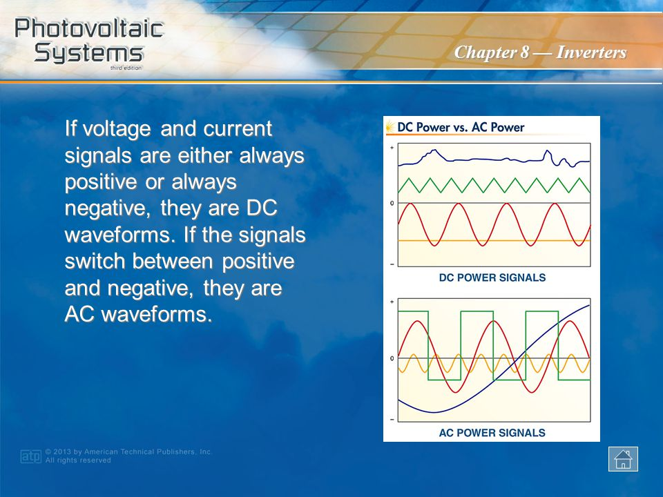 If voltage and current signals are either always positive or always negative, they are DC waveforms. If the signals switch between positive and negative, they are AC waveforms.