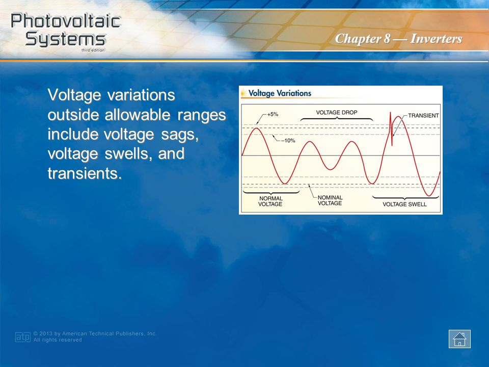 Voltage variations outside allowable ranges include voltage sags, voltage swells, and transients.