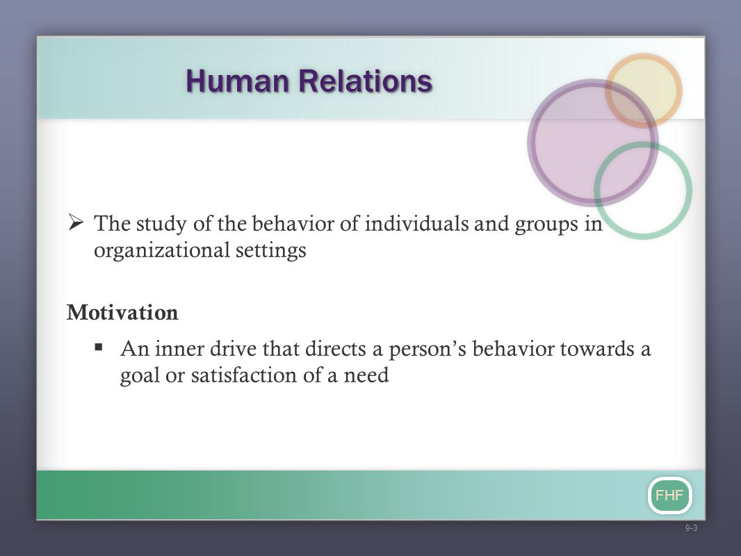 Human Relations The study of the behavior of individuals and groups in organizational settings. Motivation.