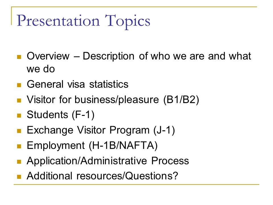 Presentation Topics Overview – Description of who we are and what we do. General visa statistics. Visitor for business/pleasure (B1/B2)