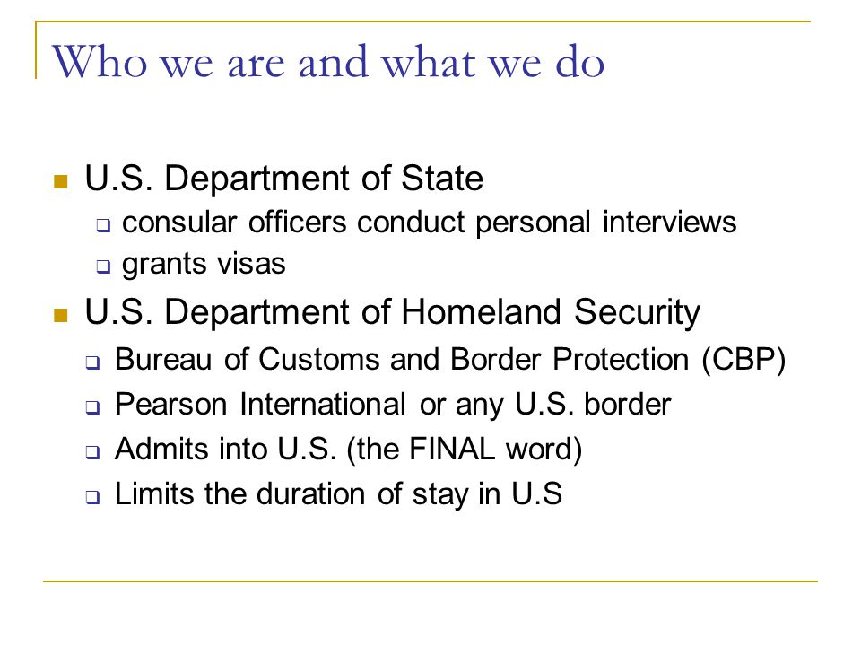 Who we are and what we do U.S. Department of State