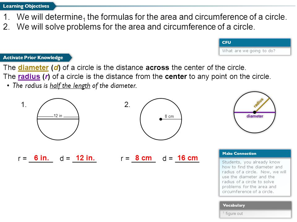 2 we will solve problems for the area and circumference of a circle