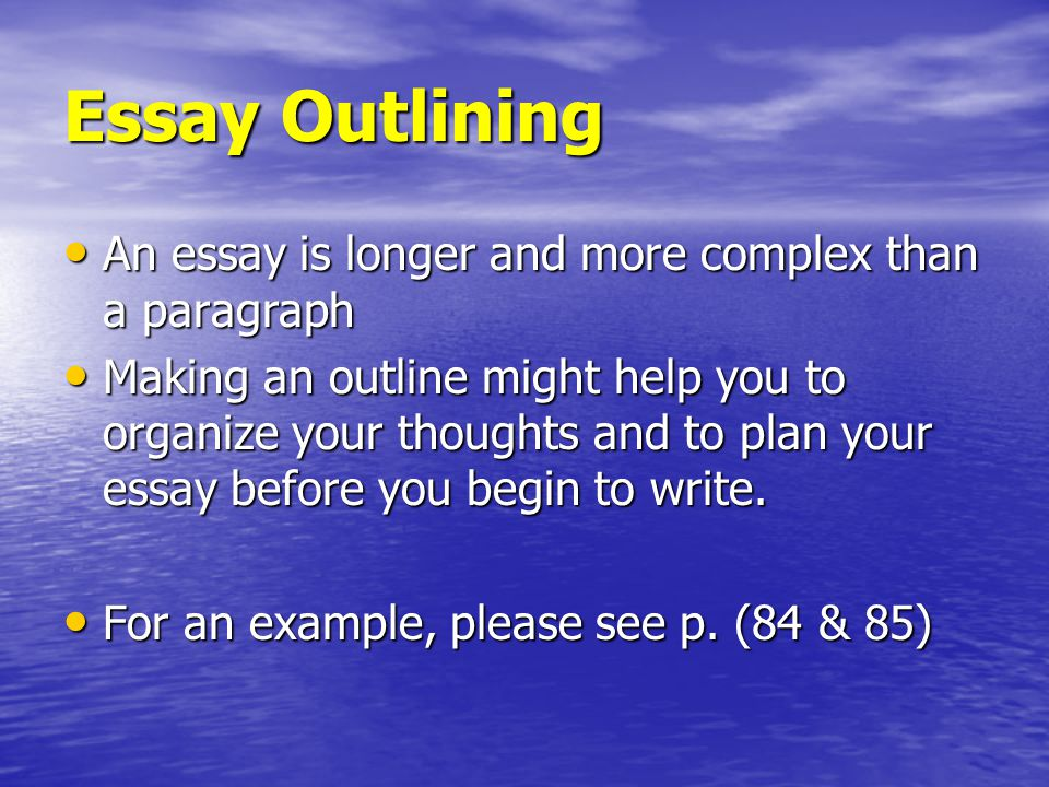 complex essay outline