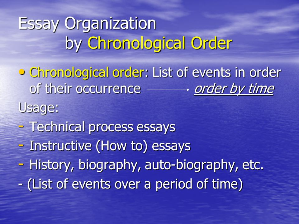 methods of organization in essays Essays, such as a comparison of two articles, short stories, or novels the body of such an essay is organized by discussing one point at a time and how it applies to each subject before moving.