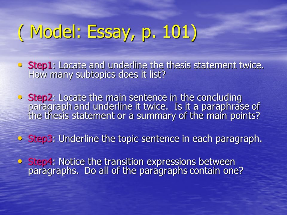 Writing Essays Well: Introductions, Thesis Statements and Topic Sentences