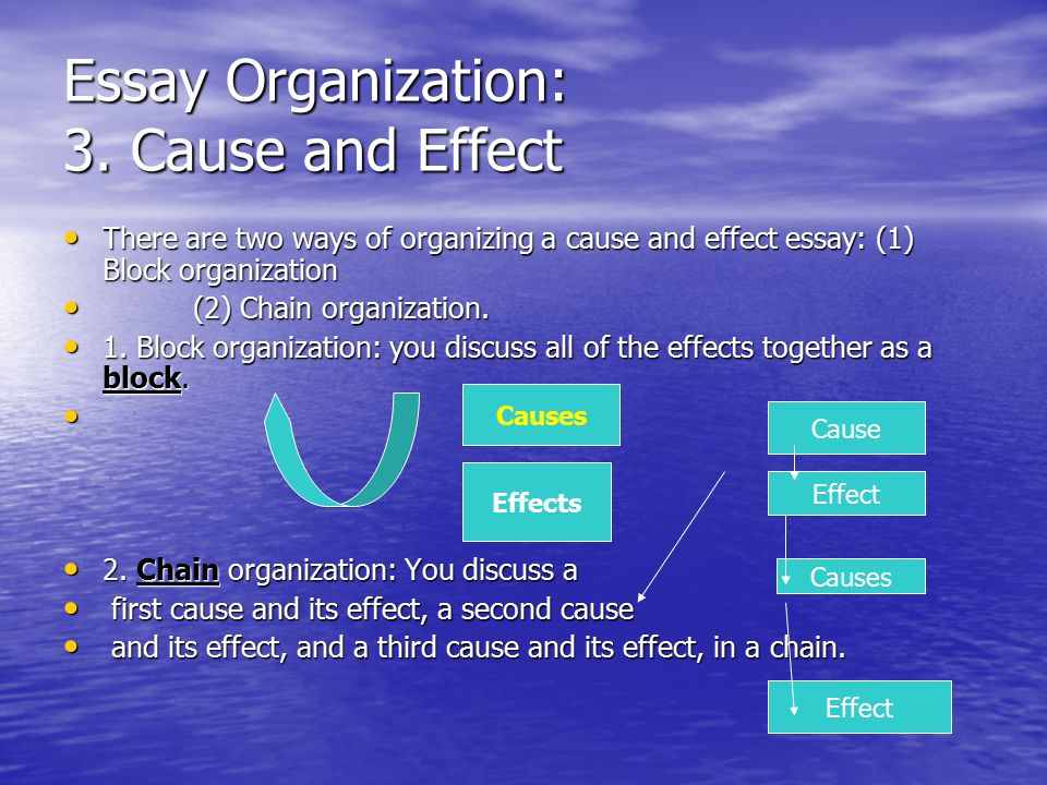 chain organization cause effect essay Scpuckett the essay search this site the essay  organization chronological  causal chain: a series of cause-effect relationships.