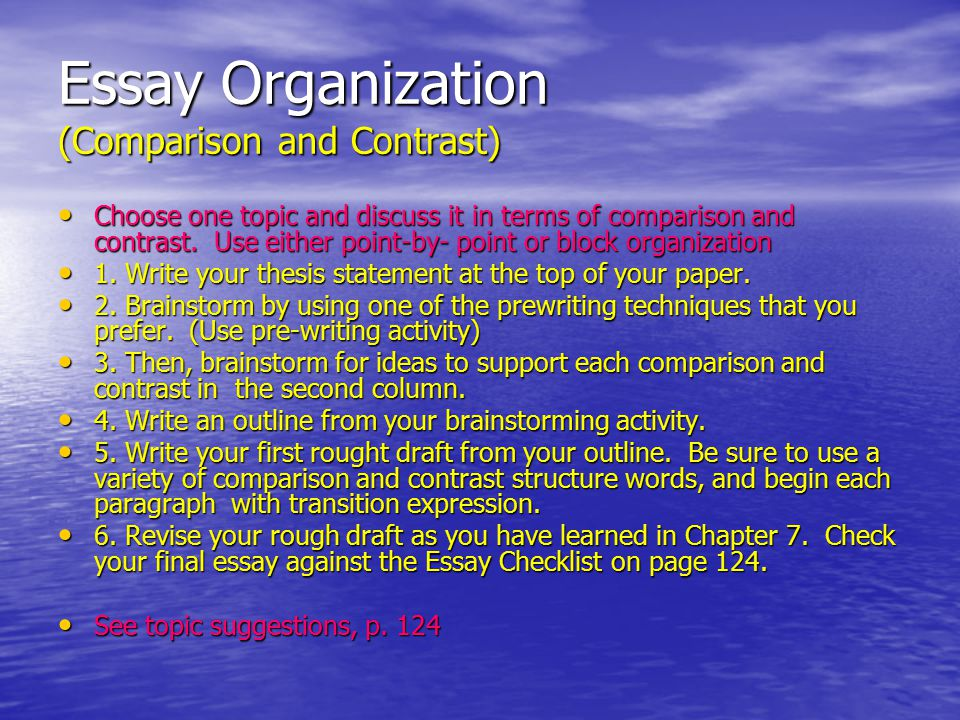 organization of essay checklist Writing skills checklist  organization: ____ introduction  ____ the focus on one main idea is clear and sustained throughout the essay.