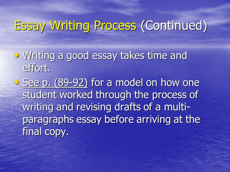 the part of the essay-writing process immediately after outlining is Essays are an important part of your restructure your paragraphs but find yourself stuck after the reverse outlining process let the writing process make.