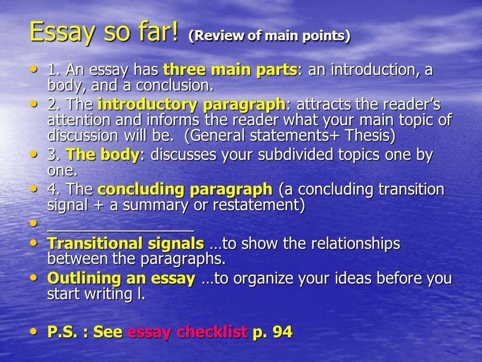 points of an essay Comparison: sample point by point essay continue with points of comparison—usually at least three points for an essay.