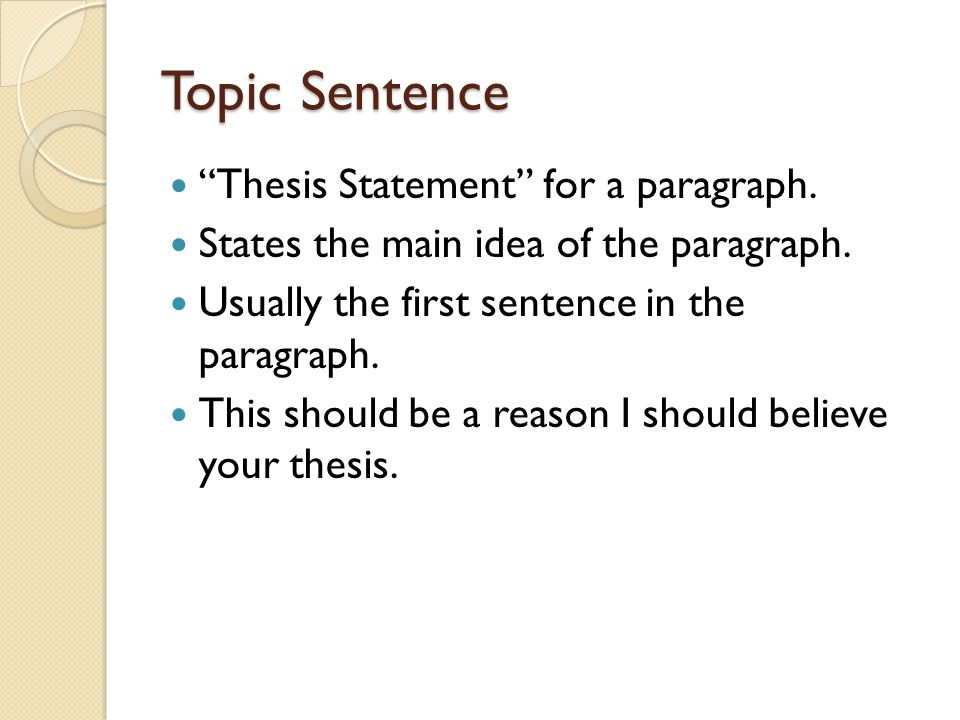 full sentence outline thesis statement