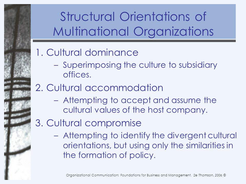 Structural Orientations of Multinational Organizations