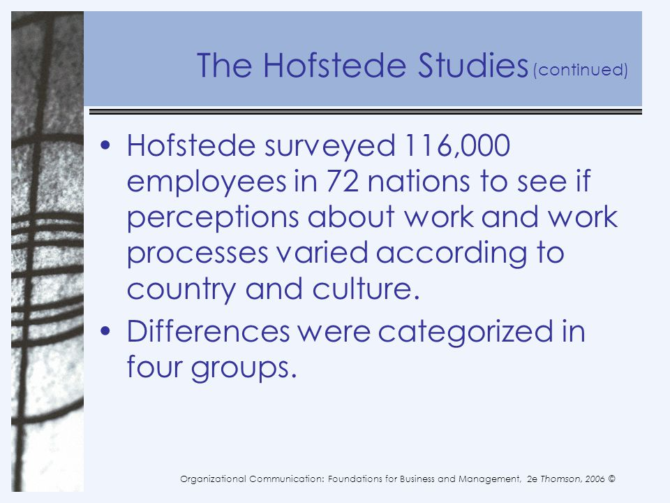 The Hofstede Studies (continued)