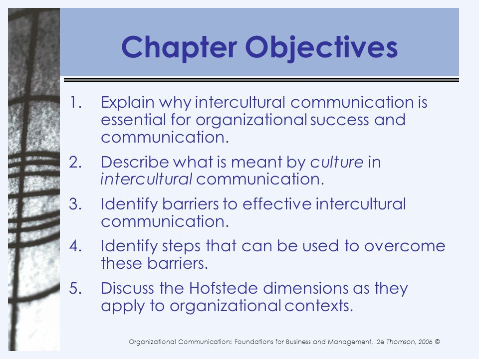 Chapter Objectives Explain why intercultural communication is essential for organizational success and communication.