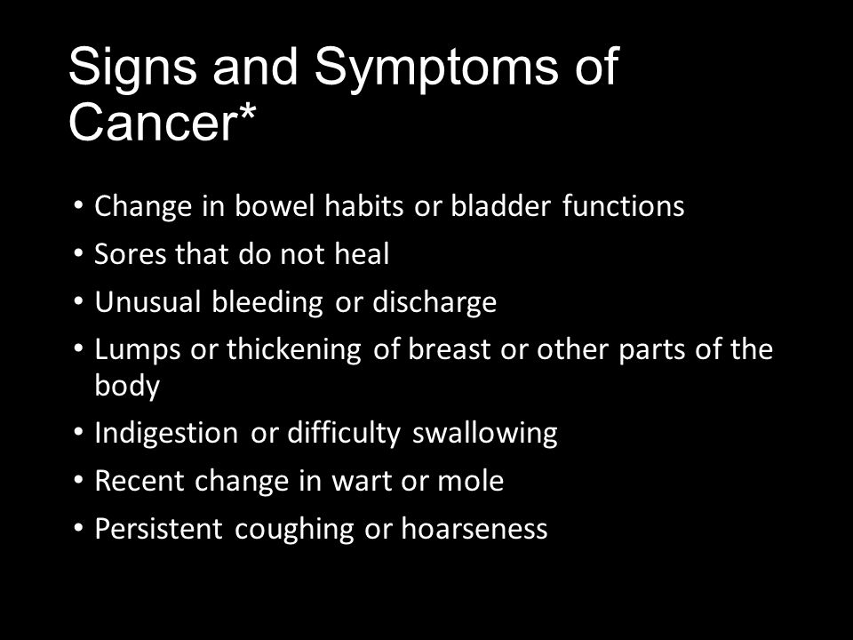 Signs and Symptoms of Cancer*