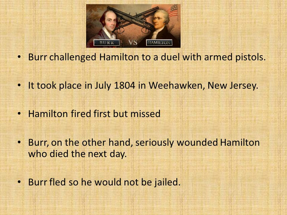 Burr challenged Hamilton to a duel with armed pistols.