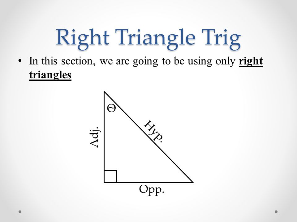 how to solve right triangles using trig