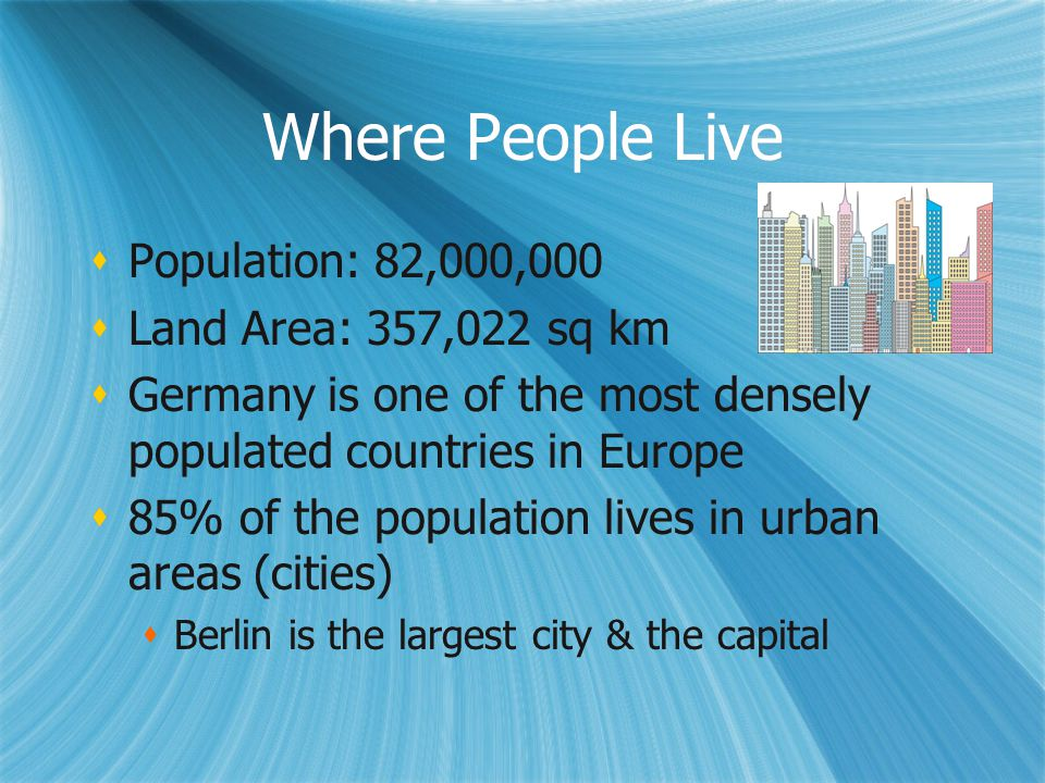 Where People Live Population: 82,000,000 Land Area: 357,022 sq km