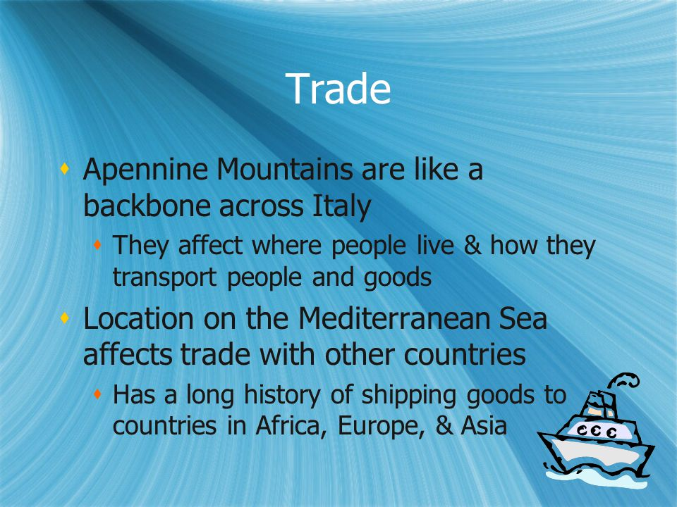 Trade Apennine Mountains are like a backbone across Italy