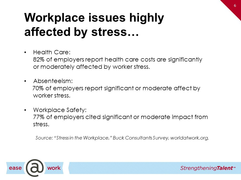 the effects of stress on worker The effects of stress can be hazardous to a worker in many ways stress impacts many areas of one's health stress can also distract a worker so he or she is not paying as much attention to what.