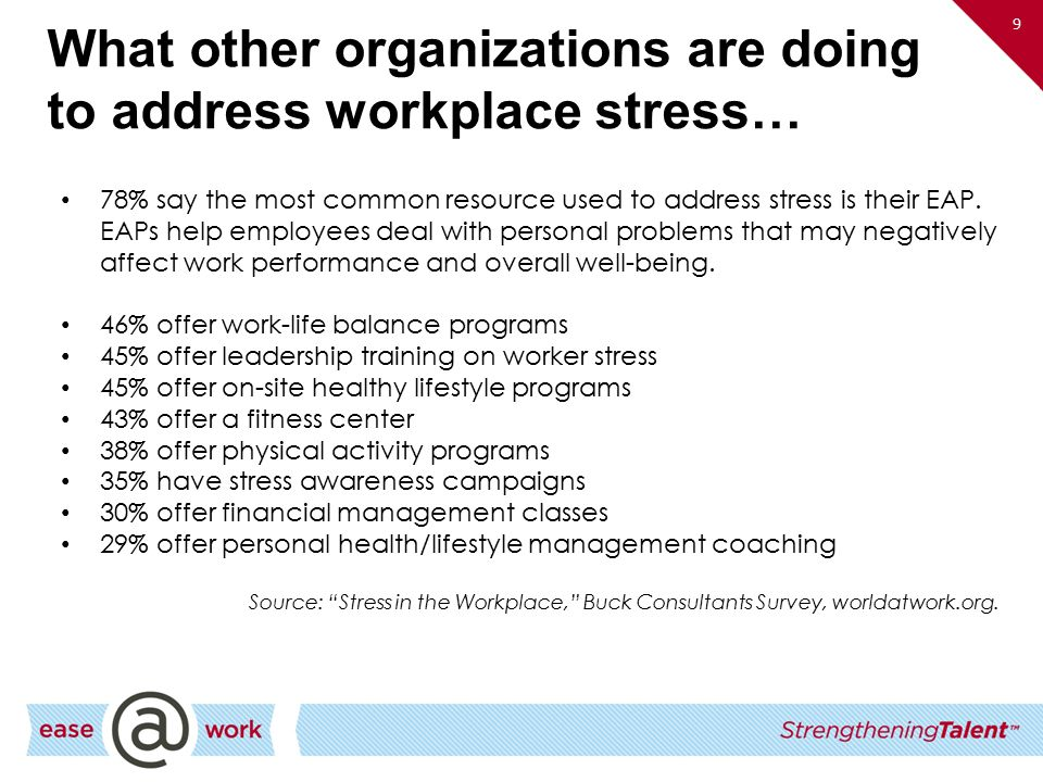 What other organizations are doing to address workplace stress…