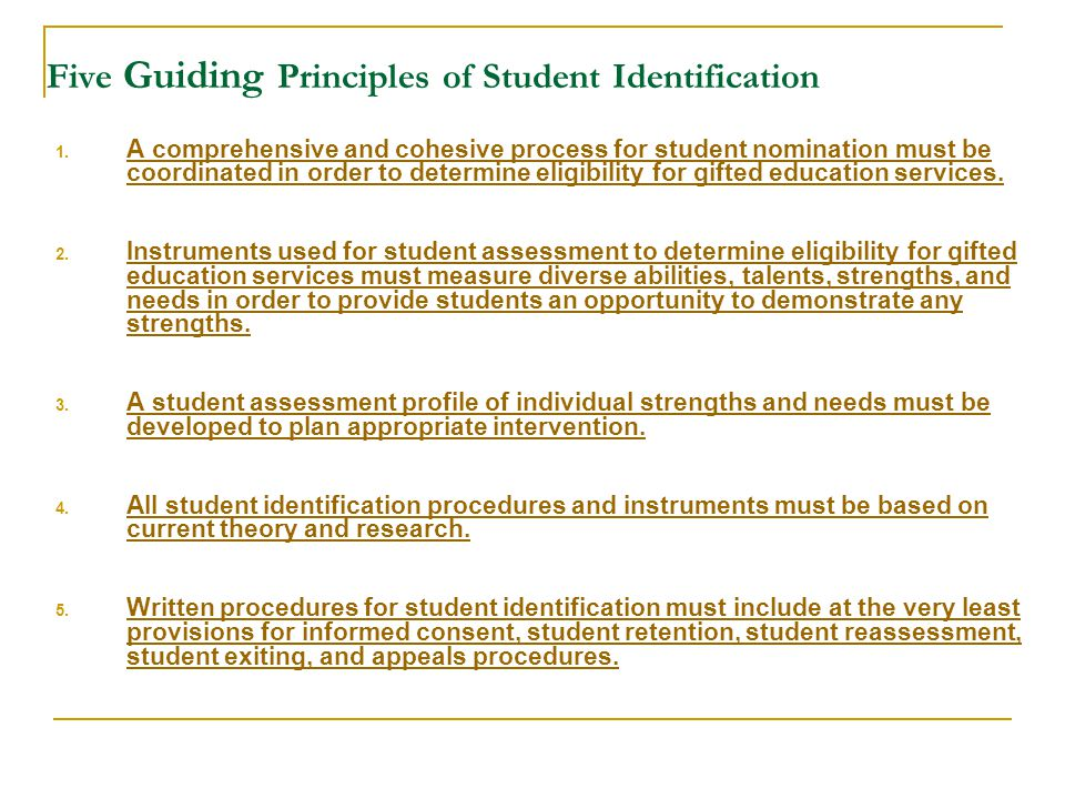 Five Guiding Principles of Student Identification