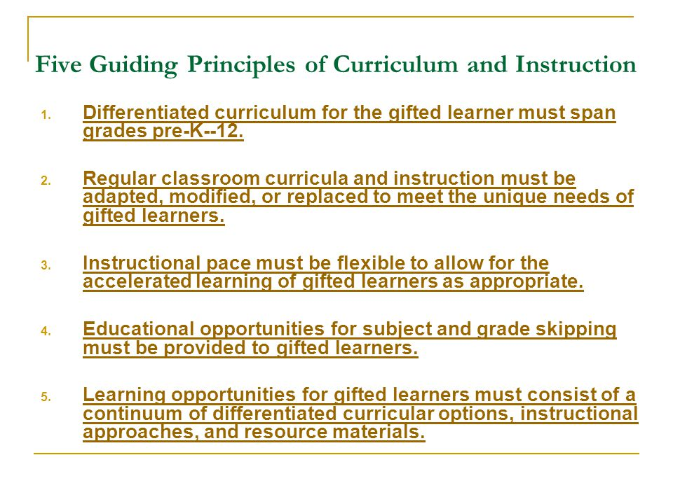 Five Guiding Principles of Curriculum and Instruction