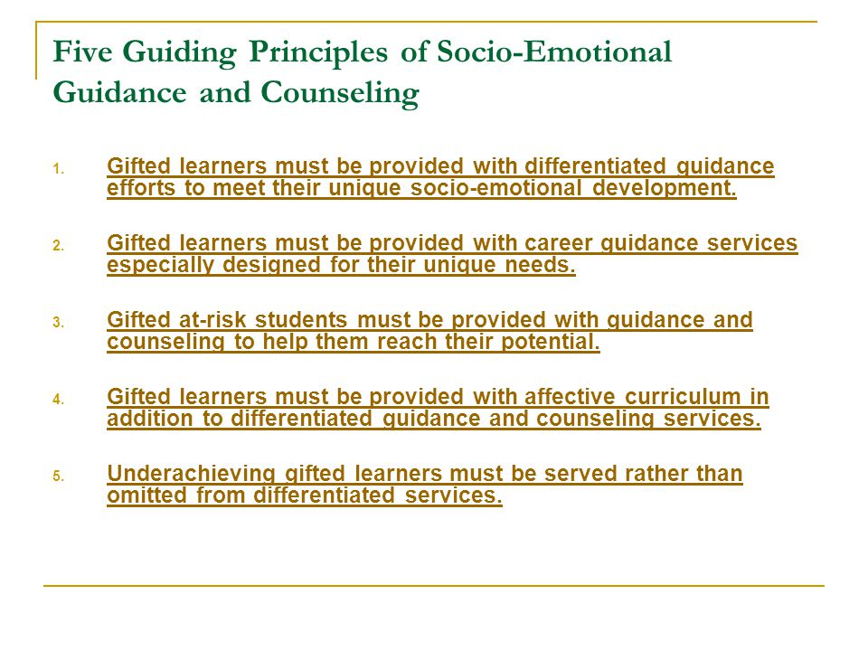 Five Guiding Principles of Socio-Emotional Guidance and Counseling