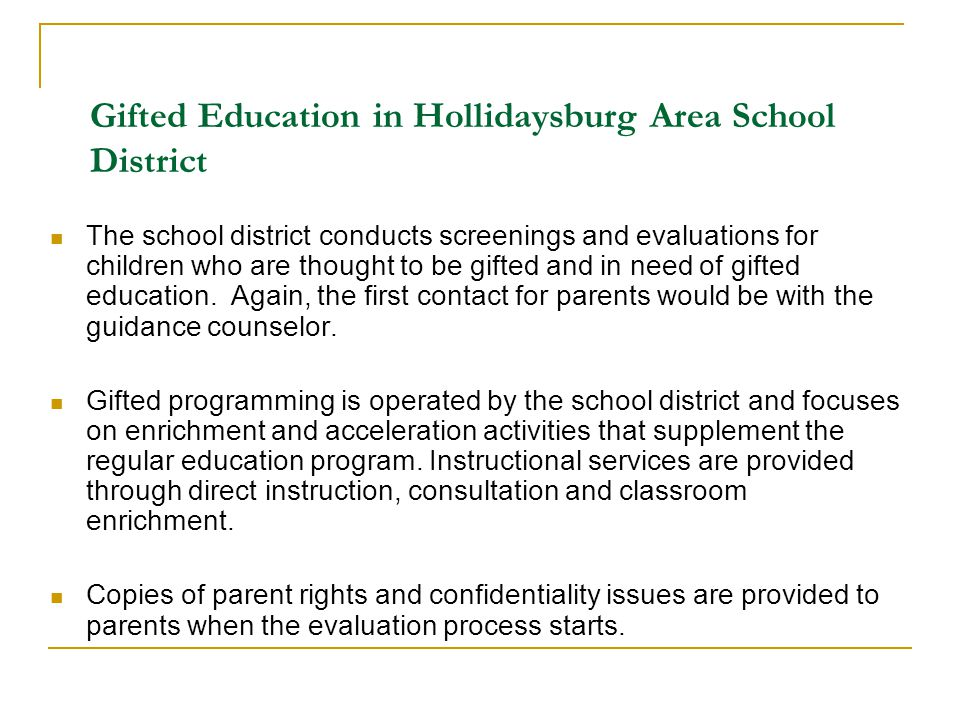 Gifted Education in Hollidaysburg Area School District