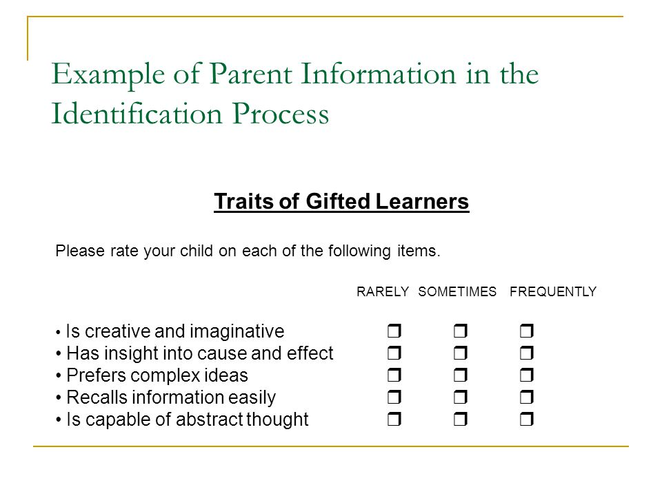 Example of Parent Information in the Identification Process