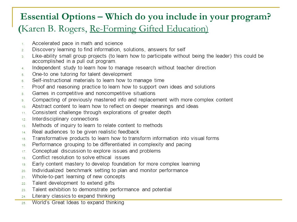 Essential Options – Which do you include in your program. (Karen B