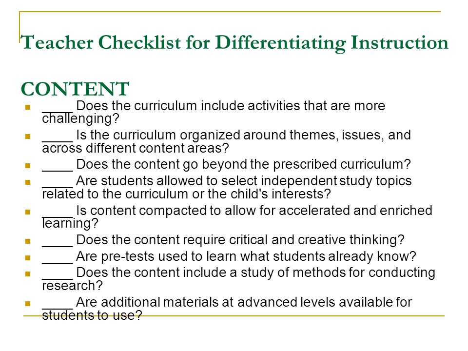 Teacher Checklist for Differentiating Instruction CONTENT