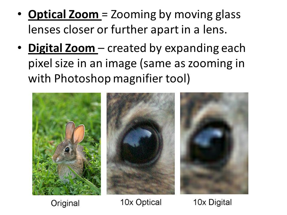 Optical Zoom = Zooming by moving glass lenses closer or further apart in a lens.
