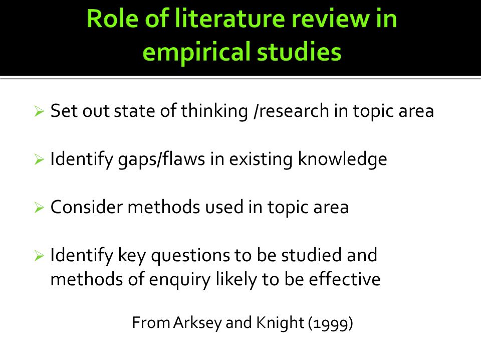 what is the role of literature review in a research report The primary role of a literature review in a qualitative research study, is to provide the reader with knowledge that has been gained from a variety of different research sources.
