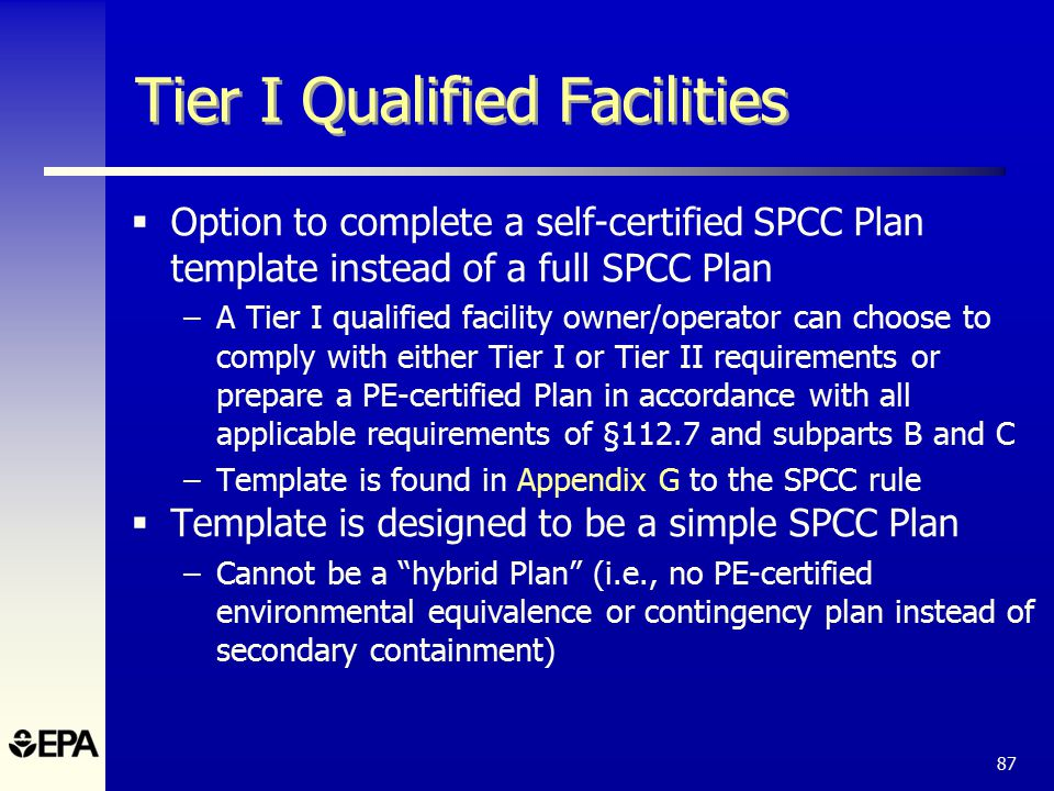 The spcc rule and recent amendments ppt download 87 tier i qualified facilities option to complete a self certified spcc plan template pronofoot35fo Choice Image
