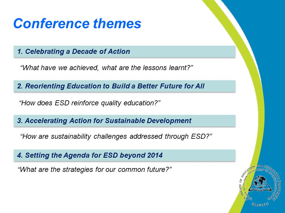Conference themes 1. Celebrating a Decade of Action