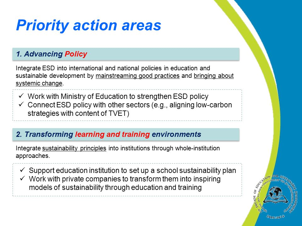 Priority action areas 1. Advancing Policy