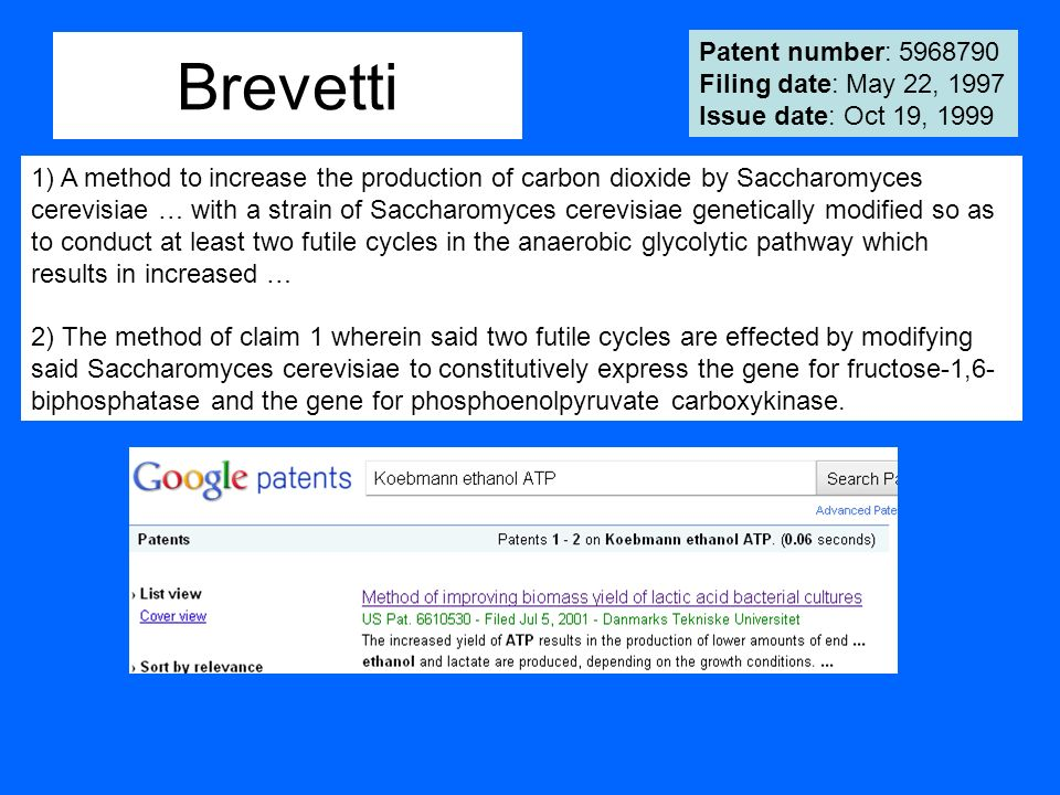 Brevetti Patent number: 5968790 Filing date: May 22, 1997 Issue date: Oct 19, 1999.