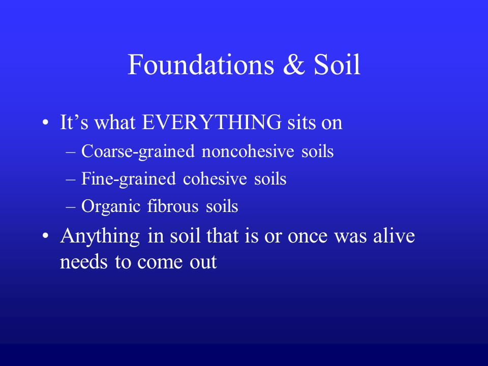 The design operation and maintenance of building systems for Everything about soil