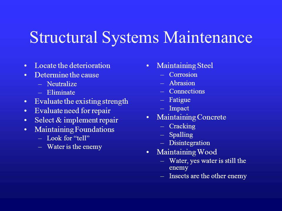 corrosion repair and maintenance of structures essay Railcorp engineering manual — structures structures repair c4-1 arresting corrosion railcorp however is responsible for the maintenance of structures that.