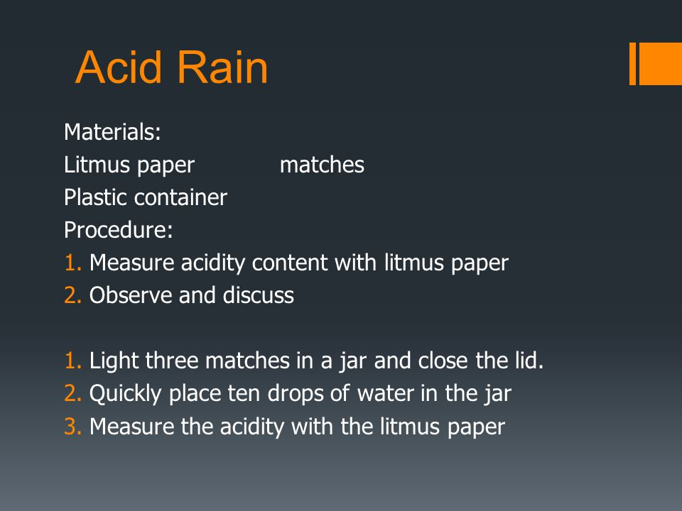 acid rain essay questions Damaged by acid rain there is no question that legisla- tion to date has made a  positive difference reductions in emis- sions of acidic compounds have been.