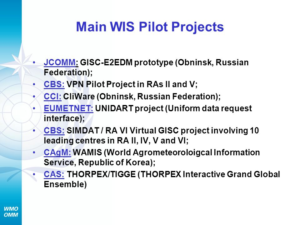 Main WIS Pilot Projects