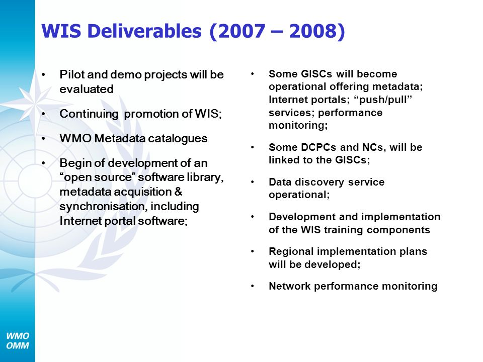 WIS Deliverables (2007 – 2008) Pilot and demo projects will be evaluated. Continuing promotion of WIS;