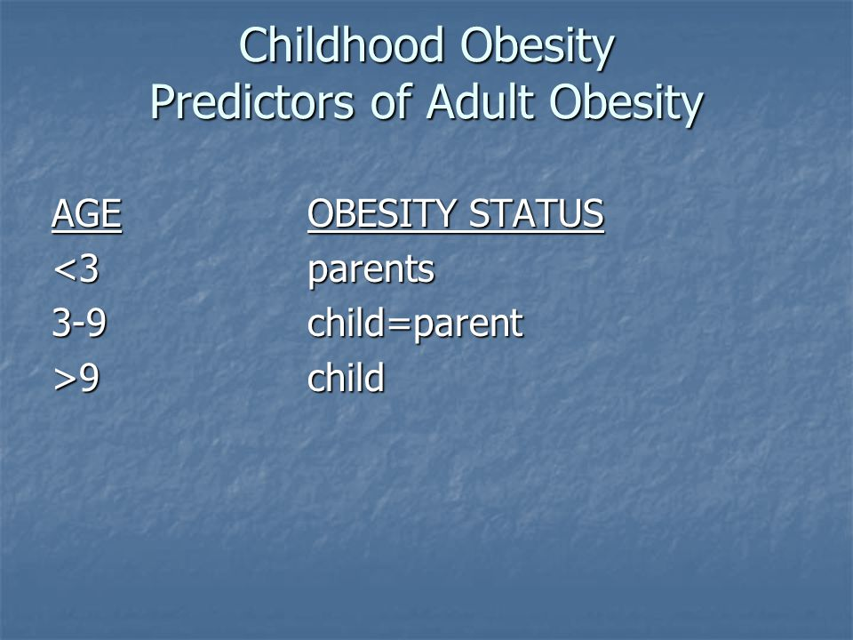 Priority Policies for Reducing Childhood and Adult Obesity